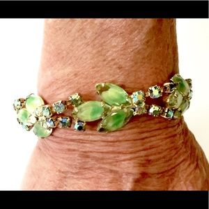 Green Rhinestone Art Glass Bracelet Vintage